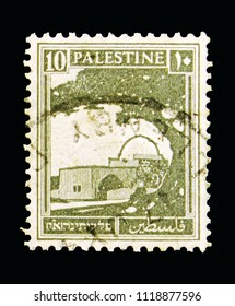 """MOSCOW, RUSSIA - MAY 15, 2018: A stamp printed in Palestine shows Rachel's Tomb, Bethlehem, Definitive Issue """"Pictorials"""" 1927 - 1945 serie, circa 1927"""