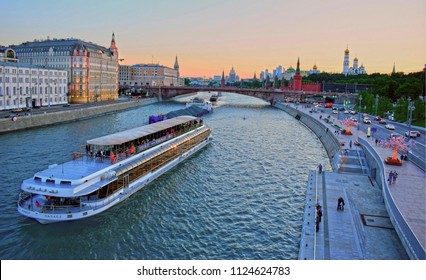 Moscow, Russia - May 15, 2018: The ship sails on the river