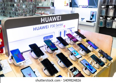 Moscow, Russia -May 15.2019. Huawei cell phones in shop window in MVideo store
