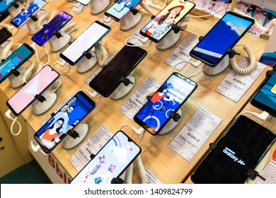 Moscow, Russia -May 15.2019. Samsung cell phones in shop window in MVideo store