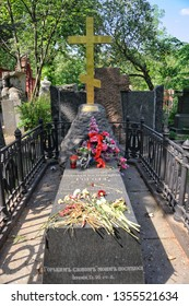 MOSCOW, RUSSIA - May 16, 2013 Grave of Russian writer Nikolai Gogol (1809-1852) in Novodevichy cemetery in spring.