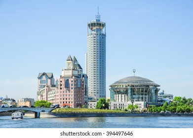 """Moscow, Russia - May 16, 2014. Russian cultural center """"Red Hills"""" includes a Business center """"Riverside towers"""", Moscow international House of Music, Swissotel Krasnye Holmy and various objects"""