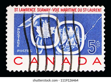 MOSCOW, RUSSIA - MAY 16, 2018: A stamp printed in Canada shows St. Lawrence Seaway, serie, circa 1959