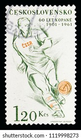 MOSCOW, RUSSIA - MAY 16, 2018: A stamp printed in Czechoslovakia shows Promotion 60th anniversary of football in CZECHOSLOVAKIA, Sports serie, circa 1961
