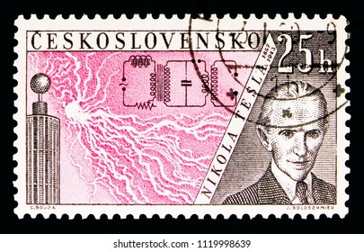 MOSCOW, RUSSIA - MAY 16, 2018: A stamp printed in Czechoslovakia shows Nikola Tesla (1856-1943), Radioinventors serie, circa 1959
