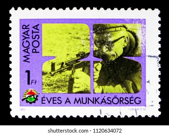 MOSCOW, RUSSIA - MAY 16, 2018: A stamp printed in Hungary shows 25th anniversary of Worker's Militia, serie, circa 1982