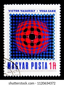MOSCOW, RUSSIA - MAY 16, 2018: A stamp printed in Hungary shows Painting by Victor Vasarely, serie, circa 1979