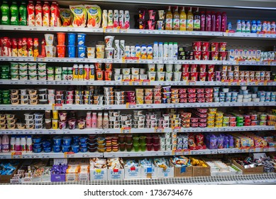 Moscow Russia, - May 16, 2020.  Grocery shelf with dairy products in a supermarket. a lot of goods