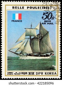 "MOSCOW, RUSSIA - MAY 17, 2016: A stamp printed in DPRK (North Korea) shows image of French sail training ship ""Belle Poule"" (1932) and French flag, series ""Sailing Ships"", circa 1987"