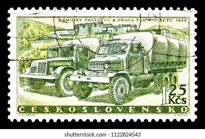 MOSCOW, RUSSIA - MAY 17, 2018: A stamp printed in Czechoslovakia shows Tatra truck 111 and Praga V3S, Development of car production in Czechoslovakia serie, circa 1958
