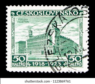 MOSCOW, RUSSIA - MAY 17, 2018: A stamp printed in Czechoslovakia shows Prague, Czechoslovakia, 10th Anniversary serie, circa 1928