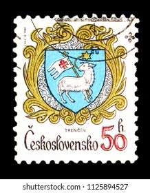 MOSCOW, RUSSIA - MAY 17, 2018: A stamp printed in Czechoslovakia shows Trencin, Coats of arms of the Czechoslovak cities serie, circa 1982