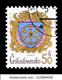 MOSCOW, RUSSIA - MAY 17, 2018: A stamp printed in Czechoslovakia shows Trnava, Coats of arms of the Czechoslovak cities serie, circa 1985