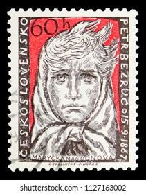 MOSCOW, RUSSIA - MAY 17, 2018: A stamp printed in Czechoslovakia devoted to 90th Aniversary of Petr Bezruc (Marycka Magdonova), serie, circa 1957
