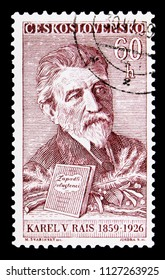 MOSCOW, RUSSIA - MAY 17, 2018: A stamp printed in Czechoslovakia shows K. V. Rais (1859-1826), writer, Culture and Science Personalities serie, circa 1959