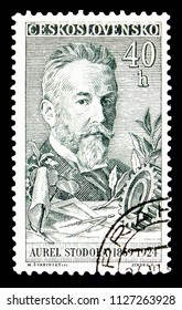MOSCOW, RUSSIA - MAY 17, 2018: A stamp printed in Czechoslovakia shows A. Stodola (1859-1924), technician, Culture and Science Personalities serie, circa 1959