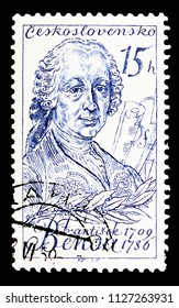 MOSCOW, RUSSIA - MAY 17, 2018: A stamp printed in Czechoslovakia shows F. Benda (1709-1786), composer, Culture and Science Personalities serie, circa 1959