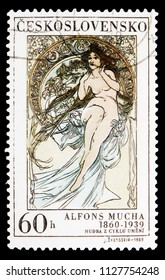 MOSCOW, RUSSIA - MAY 17, 2018: A stamp printed in Czechoslovakia shows Alfons Mucha: Music, serie, circa 1969