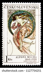 MOSCOW, RUSSIA - MAY 17, 2018: A stamp printed in Czechoslovakia shows Alfons Mucha: Dance, serie, circa 1969