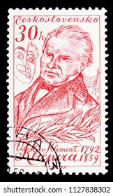 MOSCOW, RUSSIA - MAY 17, 2018: A stamp printed in Czechoslovakia shows V. K. Klicpera (1792-1859), playwright, Culture and Science Personalities serie, circa 1959