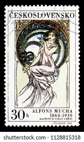 MOSCOW, RUSSIA - MAY 17, 2018: A stamp printed in Czechoslovakia shows Alfons Mucha: Painting, serie, circa 1969