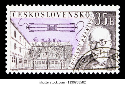MOSCOW, RUSSIA - MAY 17, 2018: A stamp printed in Czechoslovakia shows Eduard Branly (1844-1940), Radioinventors serie, circa 1959