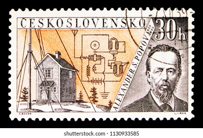 MOSCOW, RUSSIA - MAY 17, 2018: A stamp printed in Czechoslovakia shows Alexander S. Popov (1859-1905), Radioinventors serie, circa 1959