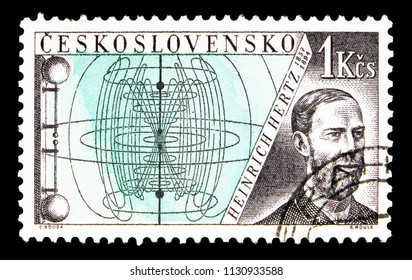 MOSCOW, RUSSIA - MAY 17, 2018: A stamp printed in Czechoslovakia shows Heinrich Hertz (1857-1894), Radioinventors serie, circa 1959