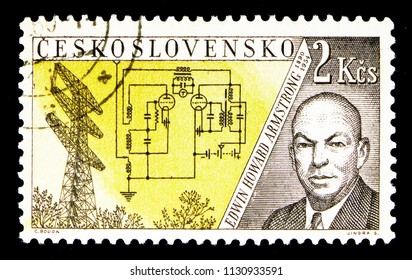 MOSCOW, RUSSIA - MAY 17, 2018: A stamp printed in Czechoslovakia shows E. H. Armstrong (1890-1854), Radioinventors serie, circa 1959
