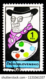 MOSCOW, RUSSIA - MAY 17, 2018: A stamp printed in Czechoslovakia shows Henri Matisse (1869-1954), French painter, World cultural figures serie, circa 1969
