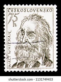 MOSCOW, RUSSIA - MAY 17, 2018: A stamp printed in Czechoslovakia shows Walt Whitman (1819-1892), Culture and Science Personalities serie, circa 1955
