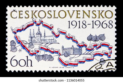 MOSCOW, RUSSIA - MAY 17, 2018: A stamp printed in Czechoslovakia devoted to 50th Anniversary of Czechoslovakia, serie, circa 1968