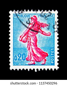 MOSCOW, RUSSIA - MAY 17, 2018: A stamp printed in France shows Sower of Piel (type II), serie, circa 1960