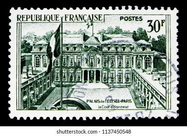 MOSCOW, RUSSIA - MAY 17, 2018: A stamp printed in France shows Elysee Palace (Paris), Monuments serie, circa 1959