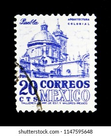 MOSCOW, RUSSIA - MAY 17, 2018: A stamp printed in Mexico shows Cathedral Puebla, Local images serie, circa 1950