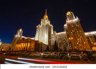 MOSCOW, RUSSIA – MAY 17, 2019: Lomonosov Moscow State University (MSU) on Sparrow Hills (at night), main building, Russia. It is the highest-ranking Russian educational institution