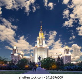 MOSCOW, RUSSIA – MAY 17, 2019: Lomonosov Moscow State University on Sparrow Hills (at night), main building, Russia.
