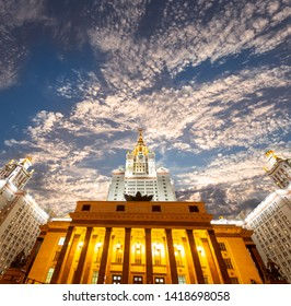 MOSCOW, RUSSIA – MAY 17, 2019: Lomonosov Moscow State University on Sparrow Hills (at night), main building, Russia. It is the highest-ranking Russian educational institution