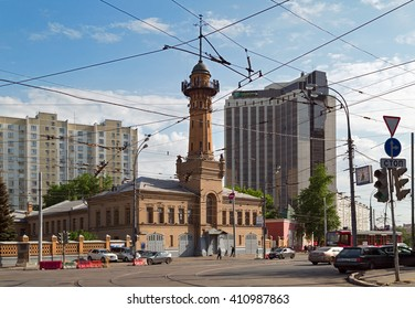 MOSCOW, RUSSIA - MAY, 17. Fire tower - fire station No. 12 of the Main Department of EMERCOM of Russia on May 17, 2014 in Moscow.