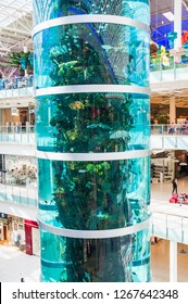 """MOSCOW, RUSSIA - MAY 18, 2017: A fragment of the tallest cylindrical aquarium in the world in the shopping center """"Aviapark"""". Tropical fish in the aquarium. The reflection in the glass"""