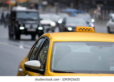 Moscow, Russia - May, 18, 2018: taxi car in Moscow, Russia