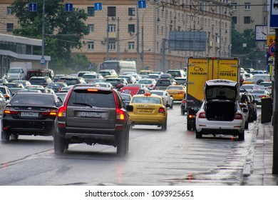 Moscow, Russia - May, 18, 2018: cars in traffic jam in Moscow