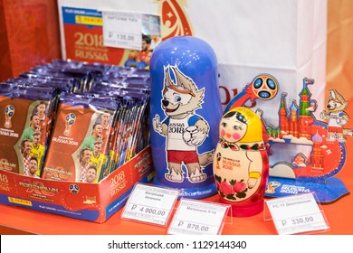 MOSCOW, RUSSIA - MAY 18, 2018: Souvenir matryoshka with printed of official mascot of FIFA 2018 World Cup in Russia - Zabivaka in official store. Symbol of Football (Soccer) Championship 2018 Zabivaka