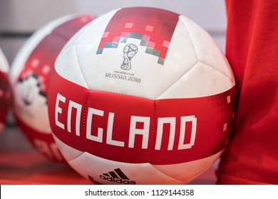 MOSCOW, RUSSIA - MAY 18, 2018: Football (Soccer) balls Adidas Telsar with England logo at official store of FIFA 2018 World Cup in Russia.