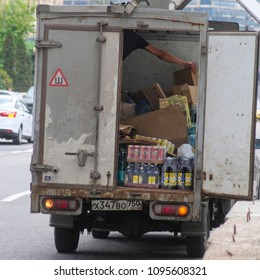 Moscow, Russia - May, 19, 2018: the image of the open truck with freight
