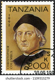 MOSCOW, RUSSIA - MAY 19, 2018: A stamp printed in Tanzania devoted to 500th anniversary of the discovery of America, shows Christopher Columbus (1451-1506), 1992