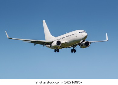 Moscow, Russia - May 19, 2019: Aircraft Boeing 737-7CT(WL) 4L-TGO of Airzena Georgian Airways landing at Vnukovo international airport in Moscow on a blue sky background at sunny day