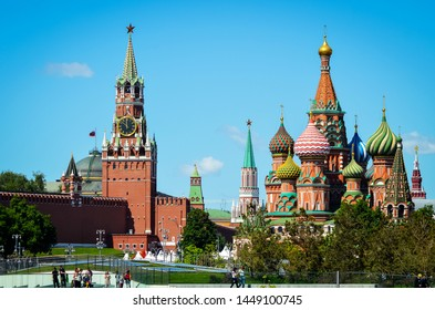 MOSCOW, RUSSIA - MAY 19, 2019: View on Russian St. Basil's Cathedral and tower Moscow Kremlin