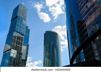 MOSCOW, RUSSIA - MAY 19, 2019: Skyscrapers in Moskow city on sunny day