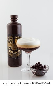 moscow, russia - may 2, 2018: cocktail balzamine special with riga balsam